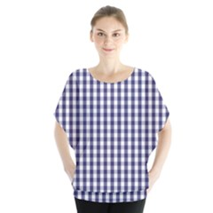Usa Flag Blue Large Gingham Check Plaid  Blouse