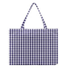 USA Flag Blue Large Gingham Check Plaid  Medium Tote Bag