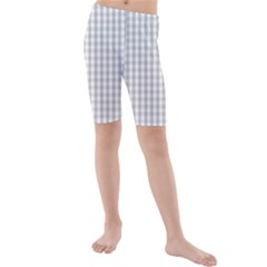 Christmas Silver Gingham Check Plaid Kids  Mid Length Swim Shorts