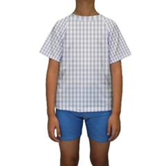 Christmas Silver Gingham Check Plaid Kids  Short Sleeve Swimwear