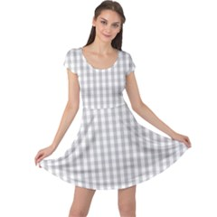 Christmas Silver Gingham Check Plaid Cap Sleeve Dresses
