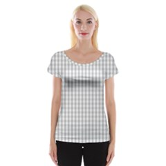 Christmas Silver Gingham Check Plaid Cap Sleeve Tops