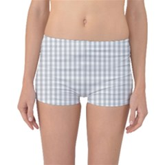 Christmas Silver Gingham Check Plaid Boyleg Bikini Bottoms