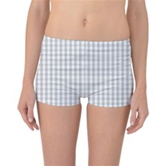 Christmas Silver Gingham Check Plaid Reversible Boyleg Bikini Bottoms