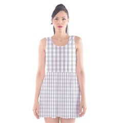 Christmas Silver Gingham Check Plaid Scoop Neck Skater Dress