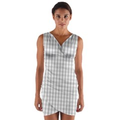 Christmas Silver Gingham Check Plaid Wrap Front Bodycon Dress