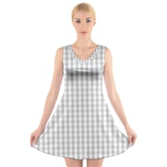 Christmas Silver Gingham Check Plaid V Neck Sleeveless Skater Dress