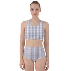 Christmas Silver Gingham Check Plaid Bikini Swimsuit Spa Swimsuit