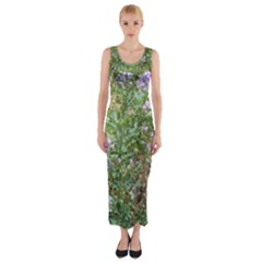 Purple Wildflowers Fitted Maxi Dress