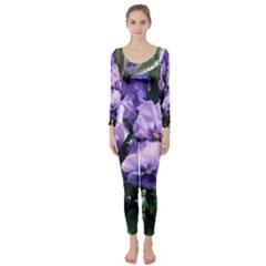 Purple Pansies Long Sleeve Catsuit