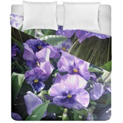 Purple Pansies Duvet Cover Double Side (California King Size)