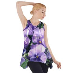 Purple Pansies Side Drop Tank Tunic