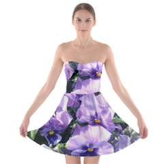 Purple Pansies Strapless Bra Top Dress