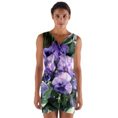 Purple Pansies Wrap Front Bodycon Dress