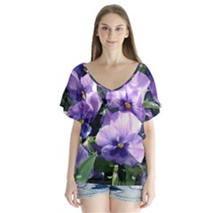 Purple Pansies Flutter Sleeve Top