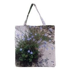 Purple Flowers On Boise River Grocery Tote Bag
