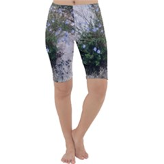 Purple Flowers On Boise River Cropped Leggings
