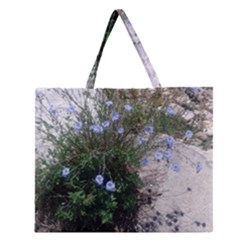 Purple Flowers On Boise River Zipper Large Tote Bag