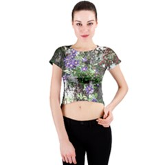 Purple Clematis Crew Neck Crop Top