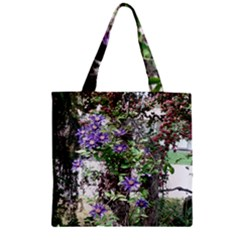 Purple Clematis Zipper Grocery Tote Bag