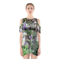 Purple Clematis Shoulder Cutout One Piece