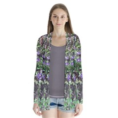 Purple Clematis Drape Collar Cardigan