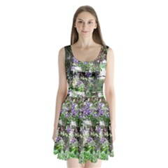 Purple Clematis Split Back Mini Dress