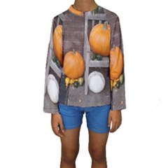 Pumpkins And Gourds Kids  Long Sleeve Swimwear