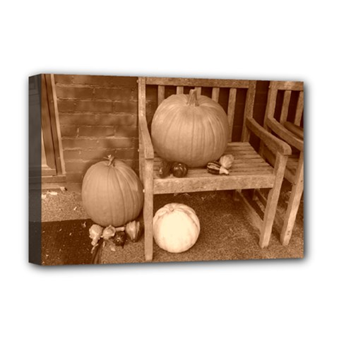 Pumpkins And Gourds Sepia Deluxe Canvas 18  x 12