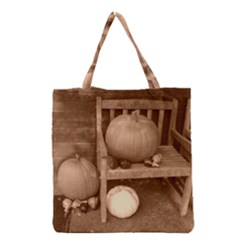 Pumpkins And Gourds Sepia Grocery Tote Bag