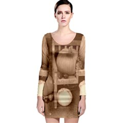 Pumpkins And Gourds Sepia Long Sleeve Bodycon Dress