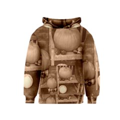 Pumpkins And Gourds Sepia Kids  Pullover Hoodie