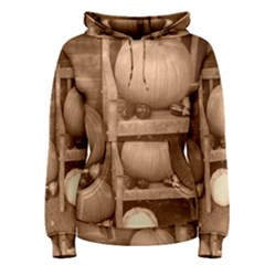 Pumpkins And Gourds Sepia Women s Pullover Hoodie