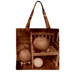 Pumpkins And Gourds Sepia Zipper Grocery Tote Bag