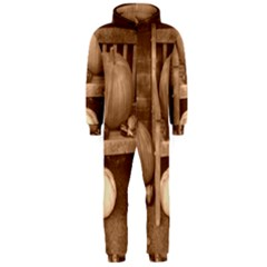 Pumpkins And Gourds Sepia Hooded Jumpsuit (Men)