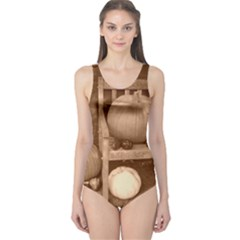 Pumpkins And Gourds Sepia One Piece Swimsuit