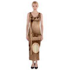 Pumpkins And Gourds Sepia Fitted Maxi Dress