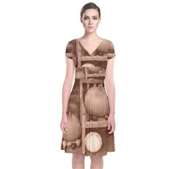 Pumpkins And Gourds Sepia Short Sleeve Front Wrap Dress