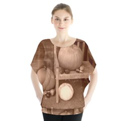 Pumpkins And Gourds Sepia Blouse