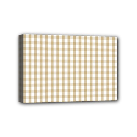 Christmas Gold Large Gingham Check Plaid Pattern Mini Canvas 6  x 4