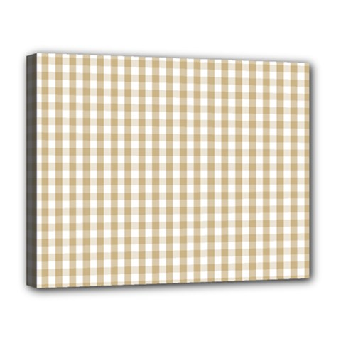 Christmas Gold Large Gingham Check Plaid Pattern Canvas 14  x 11