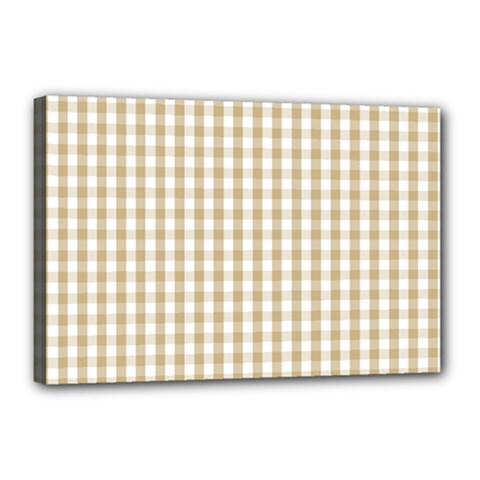 Christmas Gold Large Gingham Check Plaid Pattern Canvas 18  x 12