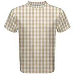 Christmas Gold Large Gingham Check Plaid Pattern Men s Cotton Tee