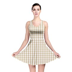Christmas Gold Large Gingham Check Plaid Pattern Reversible Skater Dress
