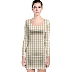 Christmas Gold Large Gingham Check Plaid Pattern Long Sleeve Bodycon Dress