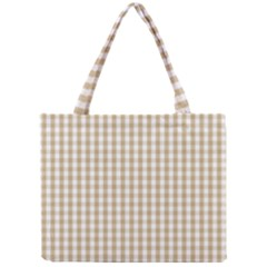 Christmas Gold Large Gingham Check Plaid Pattern Mini Tote Bag