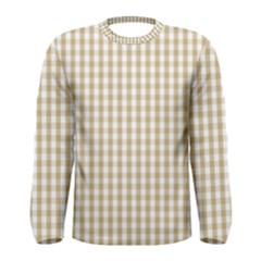 Christmas Gold Large Gingham Check Plaid Pattern Men s Long Sleeve Tee