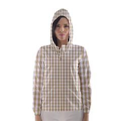 Christmas Gold Large Gingham Check Plaid Pattern Hooded Wind Breaker (Women)