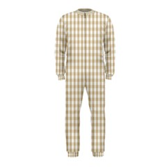Christmas Gold Large Gingham Check Plaid Pattern OnePiece Jumpsuit (Kids)