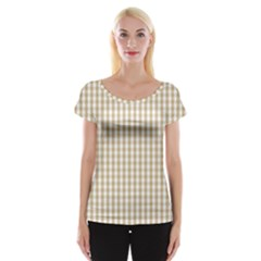 Christmas Gold Large Gingham Check Plaid Pattern Cap Sleeve Tops